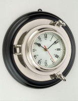 Nickel Finish Porthole Clock Wood Frame
