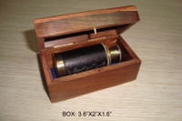 Small Brass Leather Spyglass In Box
