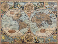Antiqued Nautical World Map Print