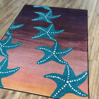 High Quality Starry Night Coastal Rugs Shapes Sizes