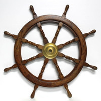 "42"" Nautical Wood Ship's Wheel"