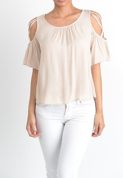Intertwined cold shoulder design top with ruffled sleeves