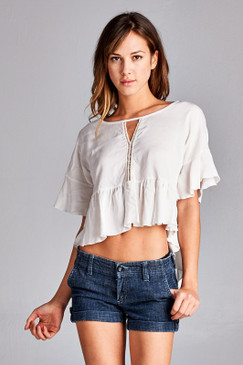 CUT OUT SOLID CROP TOP