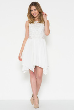 Sleeveless A-line dress with a lace bodice