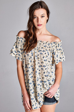 LACE INSERTED  FLORAL PRINT TOP