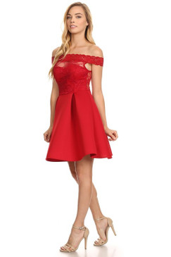 Off the shoulder red floral lace homecoming party dress