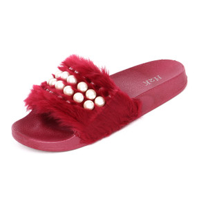 Flip Flop Faux Fur & Pearls Slide Slip on Flat Sandal Slipper for women