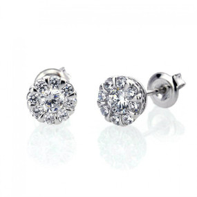 Platinum Plated Sterling Silver 1 carat Simulated Diamond Illusion Set Womens Stud Earrings