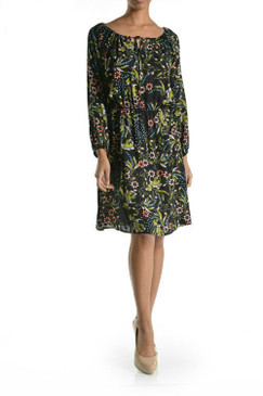 Big Floral Print Long Sleeve mid Dress with Cinched Waist and Tie Front