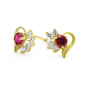14K Gold Stud Earring CZ Red And White heart Yellow Gold Earring W/ Safety-Back