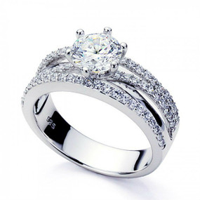 Platinum Plated Sterling Silver Wedding & Engagement Ring Beautifully Designed 1.2 Carat Simulated Diamond Center Stone Band Width 6.5MM