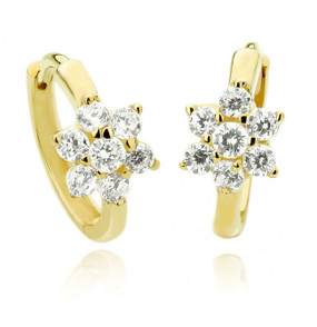 14K Gold Earrings Cubic Zirconia Flower Huggie Womens Hoop Earring