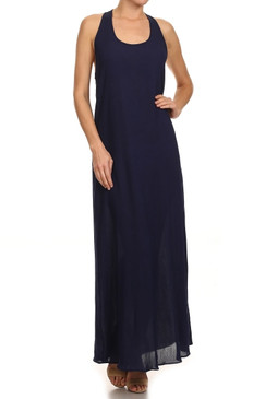 Tank shift maxi dress with open back
