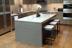 concrete kitchen countertops with waterfall legs