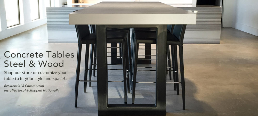 Trueform custom concrete table for the kitchen, dining room, conference room, bar, hospital, hotel, or office.