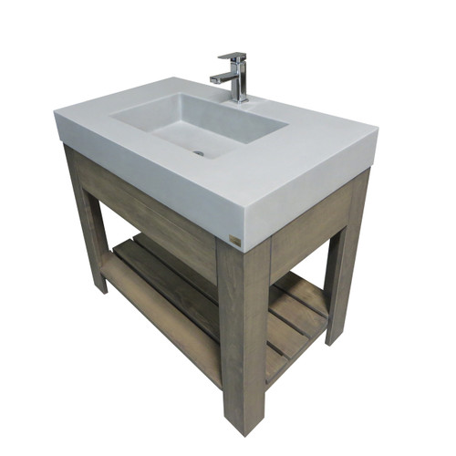 """Trueform Concrete 36"""" Lavare Vanity with Concrete Rectangle Sink & Drawer is a custom modern sink with contemporary features for the bathroom, or powder room. Vanity top integral sink with base. **Concrete shown in the color Limestone : Base in Grey on Maple.**  Wharton, New Jersey."""