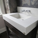 """Trueform 36"""" Lavare Concrete Bathroom Vanity Sink with Drawer is a custom modern sink with contemporary features for the bathroom, or powder room. Wharton, New Jersey. Vanity top integral sink with base. Concrete shown in the color White Linen : Base in Espresso"""
