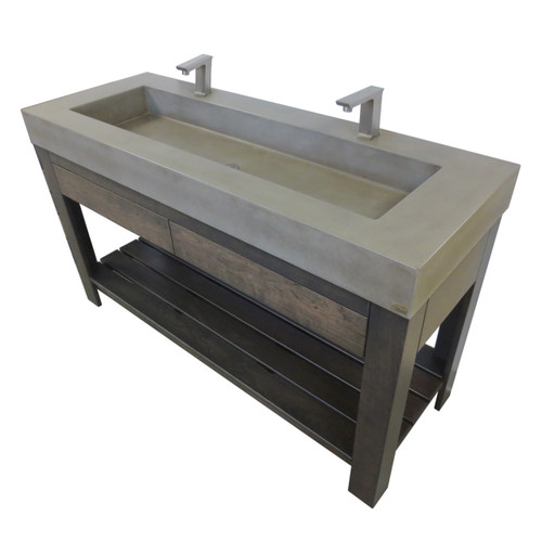 """Trueform 60"""" Lavare Vanity with Concrete Rectangle Sink & Drawer is a custom modern sink with contemporary features for the bathroom, or powder room.  Vanity top integral sink with base. Concrete shown in the color Pewter : Base in Espresso. Wharton, New Jersey."""