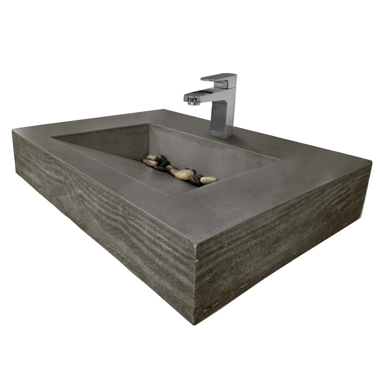 Trueform 30 ADA Floating Concrete Bathroom Sink Wood Edge Designed For A Restaurant Bar