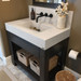 The Trueform 30D Lavare Concrete Sink with Drawer is a custom modern sink with contemporary features for the bathroom, or powder room. Wharton, New Jersey. Vanity top integral sink with base. Concrete shown in Graphite / Base in Espresso