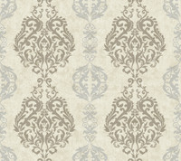 Botanical Fantasy Damask Stripe Wallpaper WB5436 by York