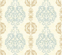 Botanical Fantasy Damask Stripe Wallpaper WB5437 by York