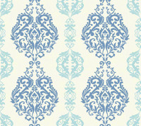 Botanical Fantasy Damask Stripe Wallpaper WB5440 by York