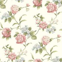 Gleason White Floral Rose Trail Wallpaper