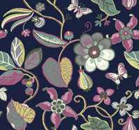 deep navy blue, yellow, teal, raspberry, olive, silver, white, cranberry  Carey Lind Vibe  Sea Floral Wallpaper