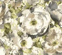 white & grey & beige & tan & yellow & green Watercolors Watercolor Poppy Wallpaper