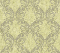 yellow & green & grey Watercolors Batik Ogee Wallpaper