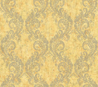 yellow & grey & orange Watercolors Batik Ogee Wallpaper
