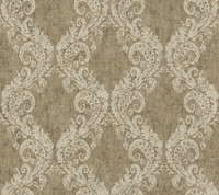 taupe & cream & dark brown & silver Watercolors Batik Ogee Wallpaper