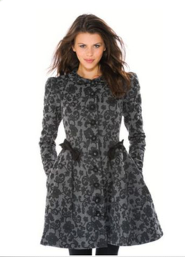 Betsey Johnson 3D Lace Brocade Embroidered RUNWAY Coat BLACK