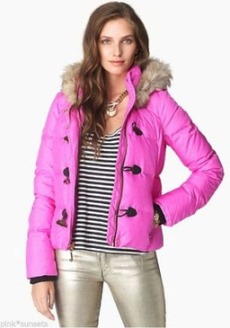 Juicy Couture Down Pink Puffer Melange Jacket Coat Faux Fur Trim Hood