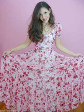 Betsey Johnson Skulls Roses Chiffon Silk Puff Sleeve Long Dress