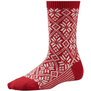Women's Traditional Snowflake Socks by SmartWool -  Crimson