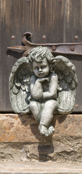 Campania Stone seated cherub small.