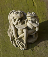 Campania Stone wine time frogs statue.