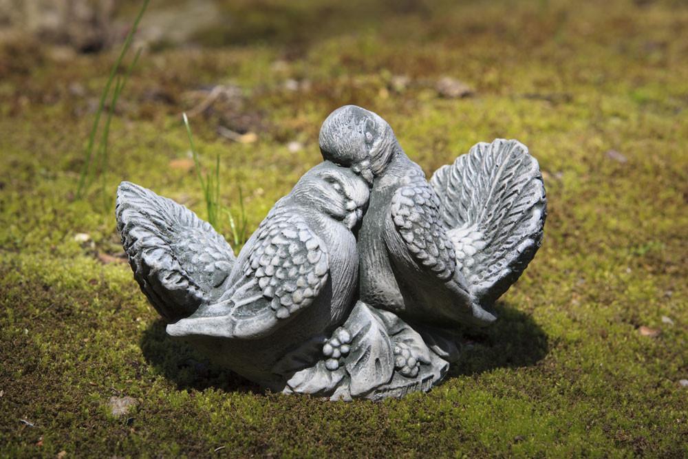 Campania Dove Small Pair, Cast Stone Animal Statue Garden