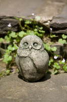 Campania Stone baby barn owl statue.
