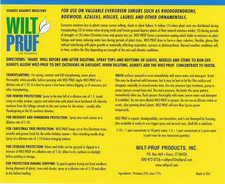 WILT PRUF Concentrate Label