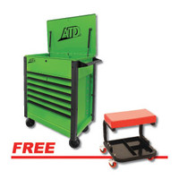 "ATD Tools 35"" 7-Drawer Flip-Top Tool Cart w/FREE Mechanic's Padded Creeper Seat"
