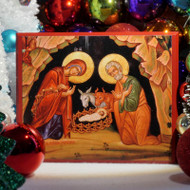 Icon of the Nativity. Orthodox icon of the Holy Nativity. This icon is located above the Silver Star where Christ is believed to have been born in Bethlehem.