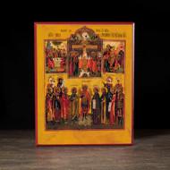 Crucifixion with Scenes Icon - F124