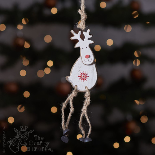 Hanging White Reindeer Decoration