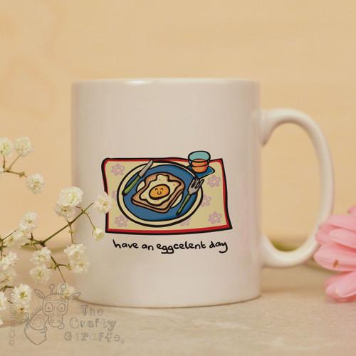 Have an eggcelent day mug