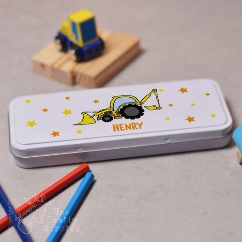 Personalised Digger Pencil Tin