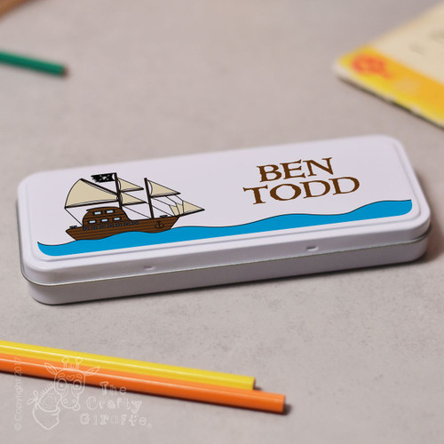 Personalised Pirate Ship Pencil Tin