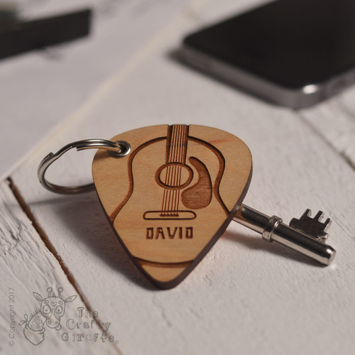 Personalised Acoustic Guitar Pick Keyring
